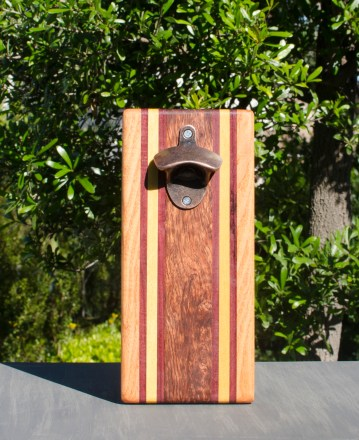 Magic Bottle Opener 17 - 627. Cherry, Bloodwood, Yellowheart & Bubinga. Double Magic.