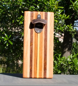 Magic Bottle Opener 17 - 641. Honey Locust, Hard Maple, Caribbean Rosewood, Cherry, Canarywood & Yellowheart. Double Magic.