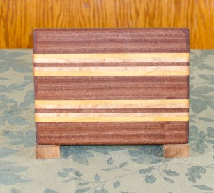 "Cheese Board 17 - 324. Sapele, Birdseye Maple & Purpleheart. 6"" x 8"" x 5/8""."