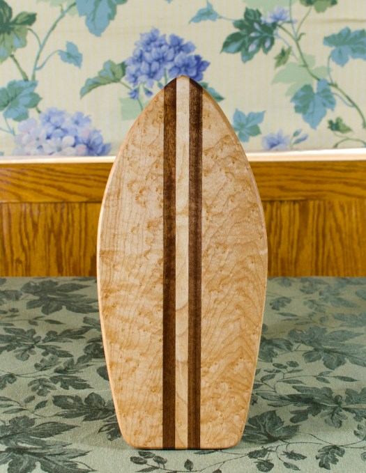 "Small Surfboard 17 - 506. Birdseye Maple & Sapele. 7"" x 16"" x 3/4""."