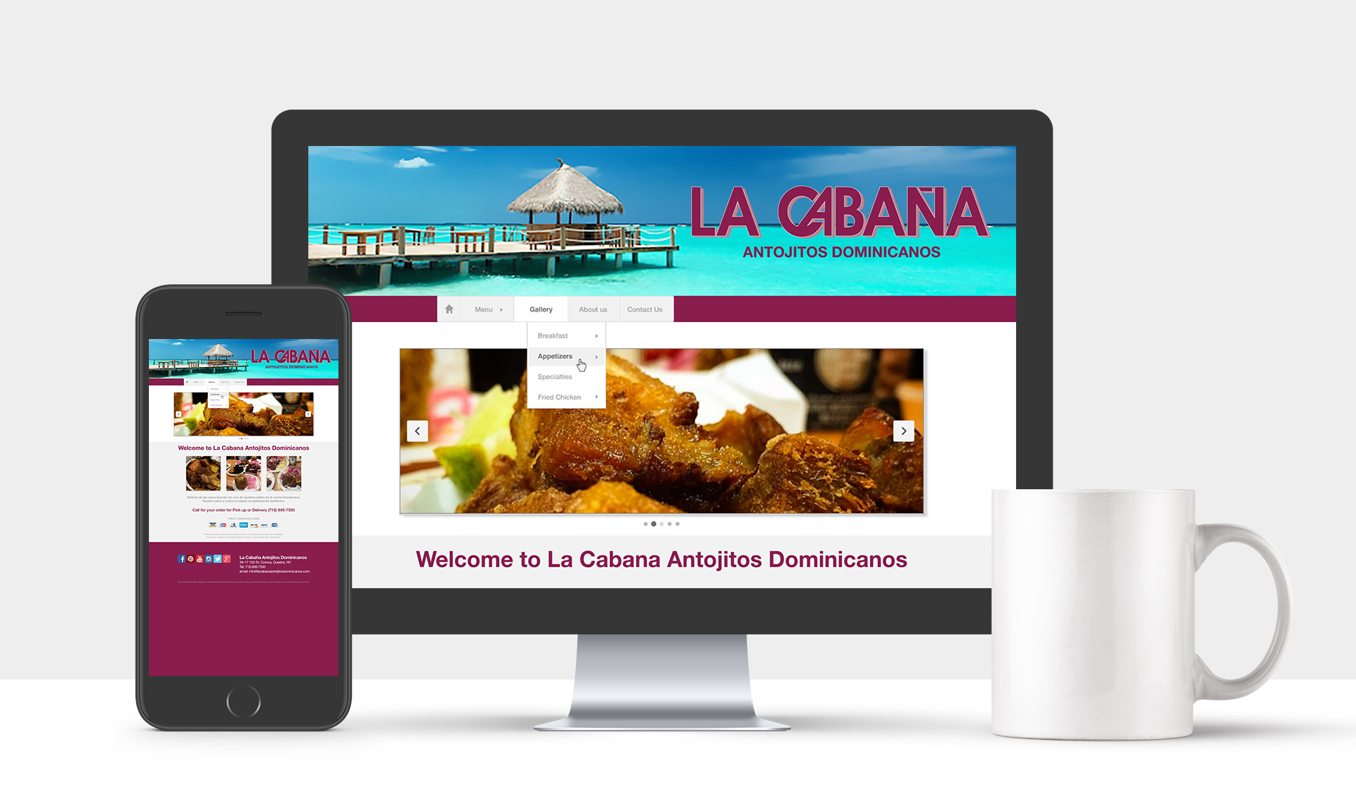 Website for La Cabaña Dominican Restaurant
