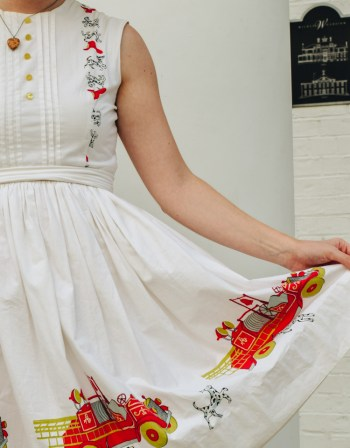 dress with dalmatian dog and fire truck print