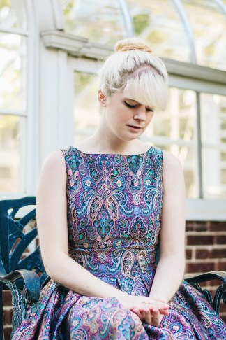mox and socks modcloth paisley dress gold seychelles heels (7)