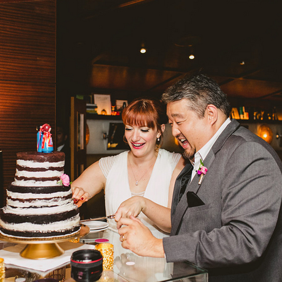 Bride & Groom cut cake at SLS Beverly Hills, Moxie Bright Events, Best Los Angeles Wedding Planners