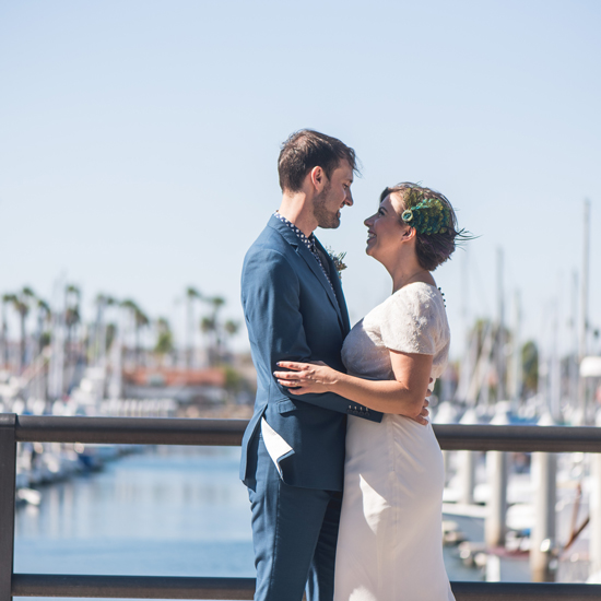 bride & groom at marina, Best Los Angeles Wedding planner, Moxie Bright Events