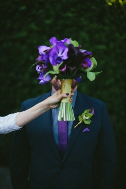 Bridal bouquet, purple calla lillies with gold ribbon by The Enchanted Florist, Burbank. Moxie Bright Events.