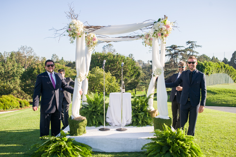 birch and tulle covered chuppah, Hillcrest Country Club, Los Angeles, CA