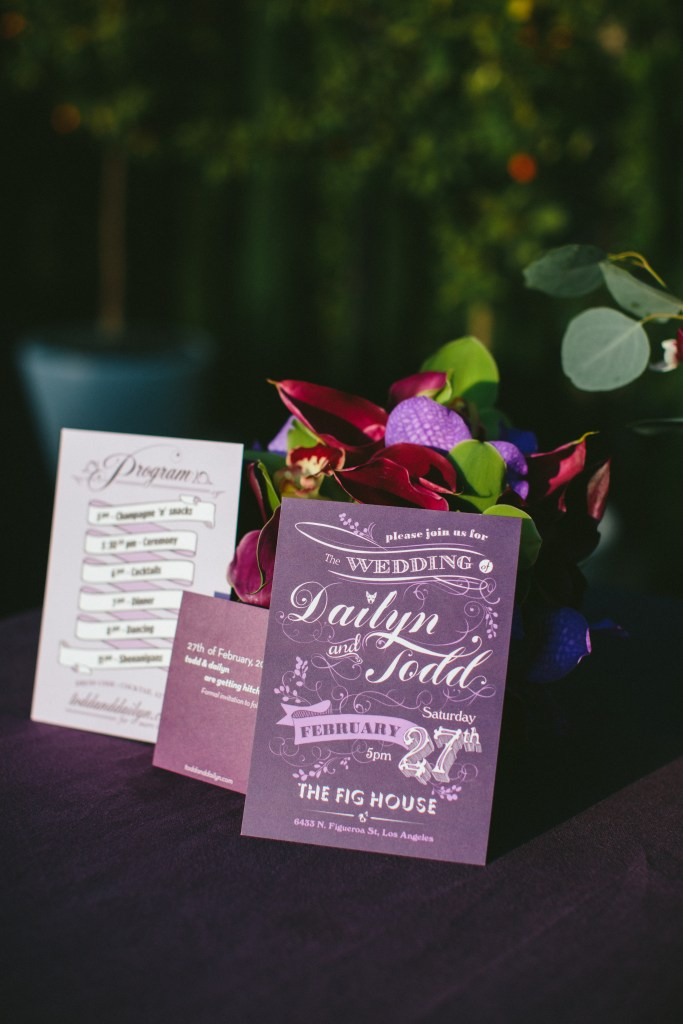 purple custom wedding invitation, The Fig House wedding, Moxie Bright Events