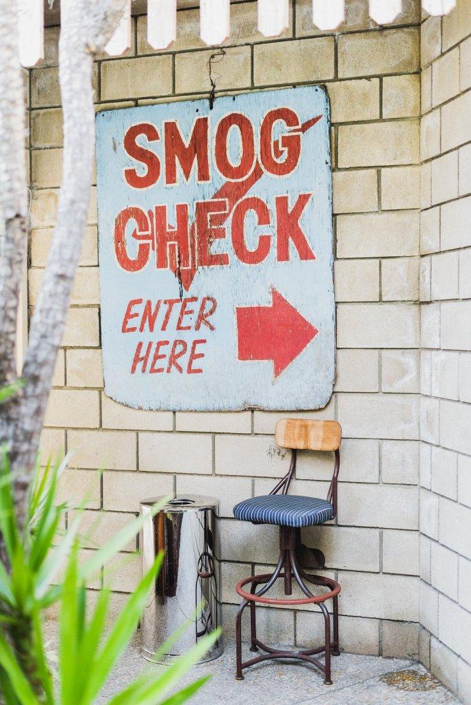 Smog Shoppe entrance sign, Best Los Angeles wedding planner