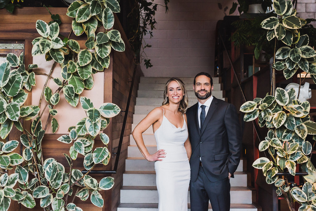 bride and groom at Smog Shoppe, Moxie Bright Events best wedding planner Los Angeles
