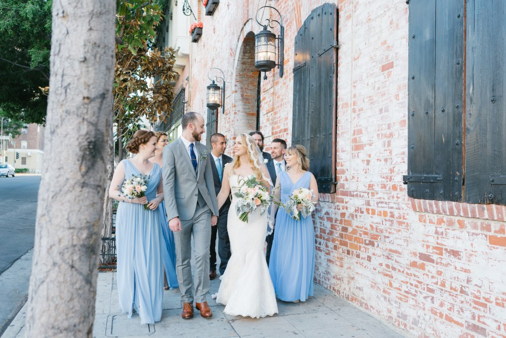 group wedding party photo outside of Carondelet House, Los Angeles