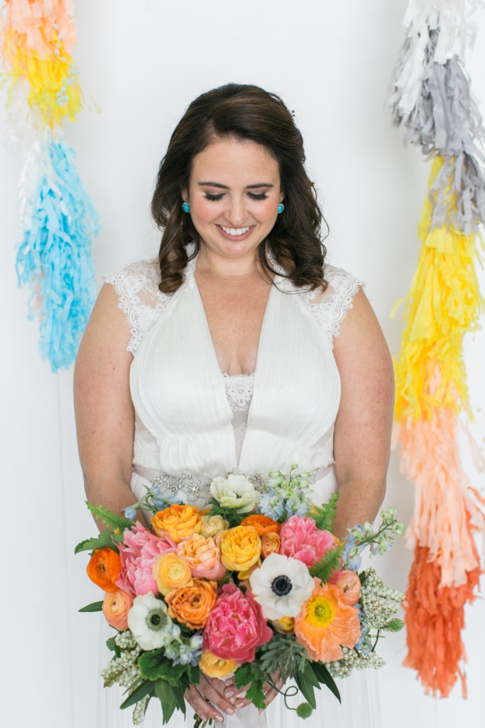 colorful bouquet, pink, orange, blue, yellow, white bouquet, Florals by Shindig Chic, Wedding Planner: Moxie Bright Events