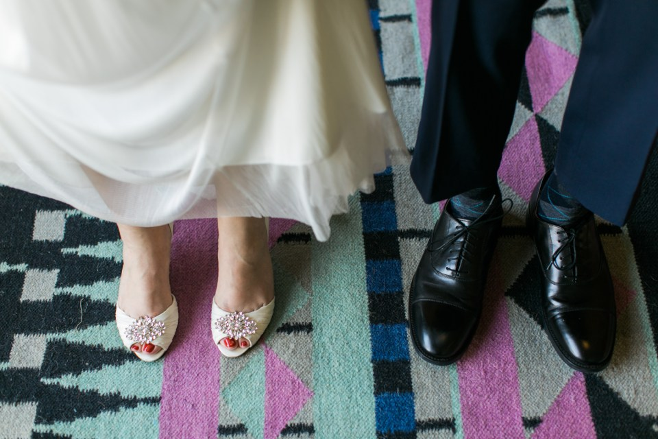 Bride and Groom shoes on patterned rug at The Unique Space, Downtown Los Angeles