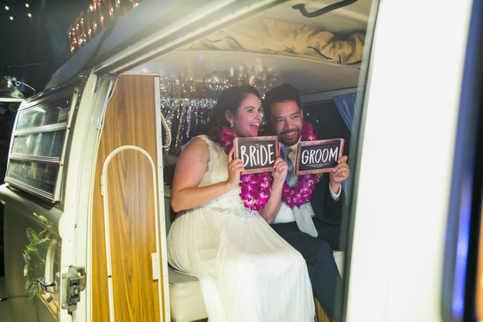 Bride & Groom in VW photo booth