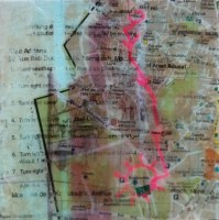"""**SOLD** Once You Find Koutoubia You Know Your Way Home - 6""""x6"""" - Acrylic and Collage on Wood"""