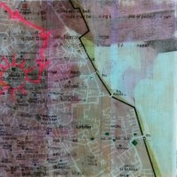 """**SOLD** Walking to Medersa Ben Youssef - 6""""x6"""" - Acrylic and Collage on Wood"""