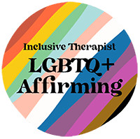 "Image of a circle with the text ""inclusive therapist. LGBTQ plus affirming"". The background is a pride flag rainbow pattern. Moxie Family Therapy offers inclusive therapy, and lgbt friendly therapy in california. Contact us today and learn if trauma therapy, coupes therapy, or ptsd treatment could benefit you!"