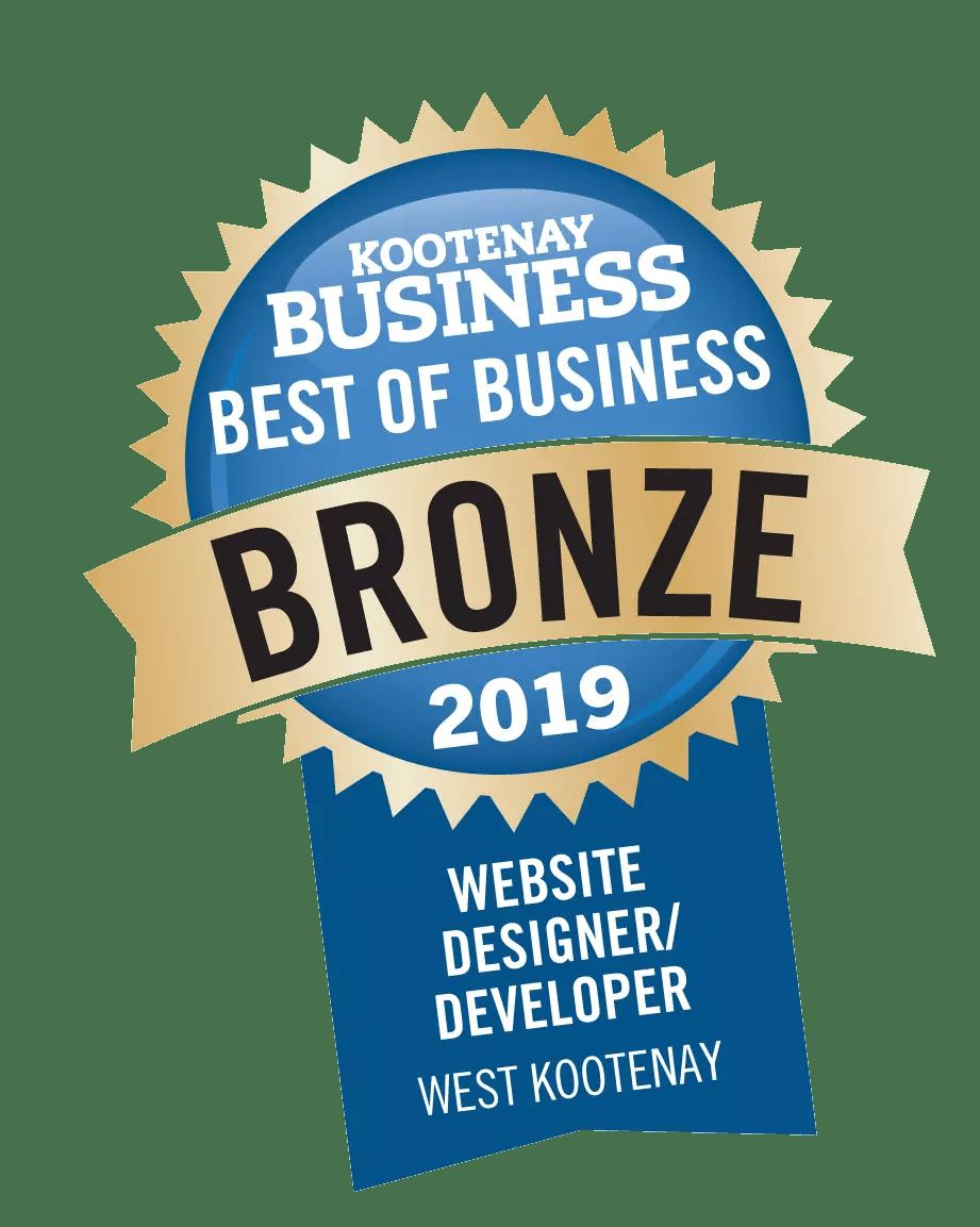 Best in Business Award for Website Design in the West Kootenay, Revelstoke, Moxie Marketing