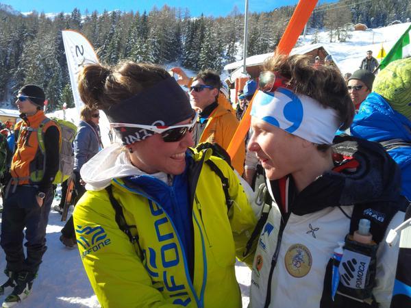 Mireia Miró y Laetita Roux en los Mundiales Skimo Verbier 2015. Foto: @Matterhornultraks