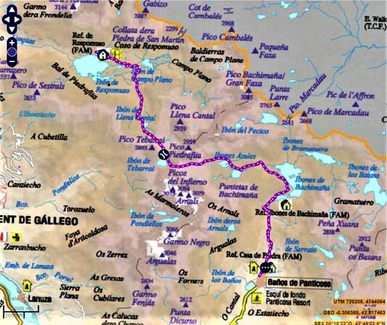 mapa gr 11 refugio respomuso a balneario panticosa rutas pirineo aragones
