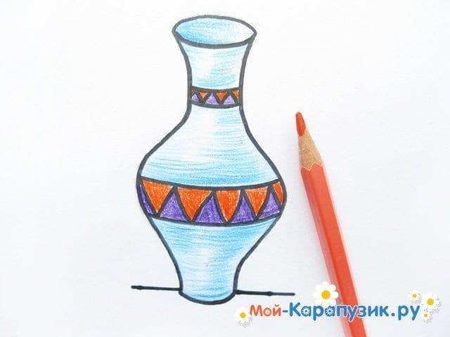 Krok za krokem kreslení váza s barevnými tužkami - fotografie 13