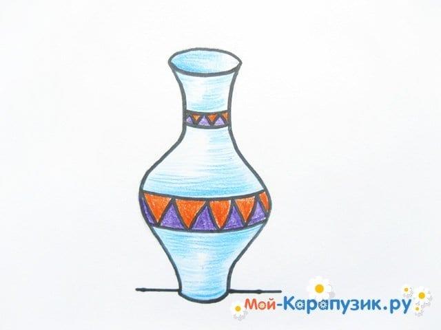 Krok za krokem výkresu váza s barevnými tužkami - Fotografie 14