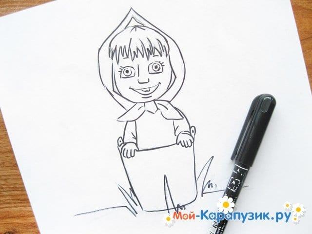 """Поэтапное рисование Маши из м/ф """"Маша и Медведь"""" цветными карандашами - фото 10"""