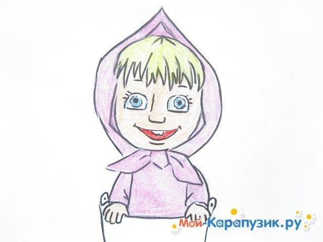 """Поэтапное рисование Маши из м/ф """"Маша и Медведь"""" цветными карандашами - фото 13"""
