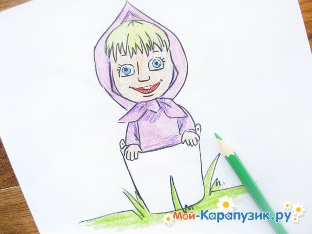 """Поэтапное рисование Маши из м/ф """"Маша и Медведь"""" цветными карандашами - фото 14"""