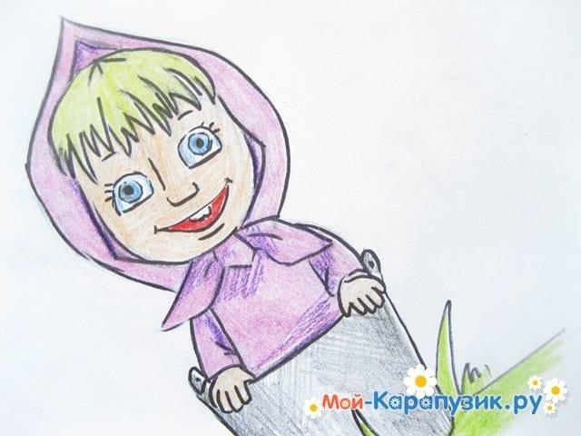 """Поэтапное рисование Маши из м/ф """"Маша и Медведь"""" цветными карандашами - фото 19"""