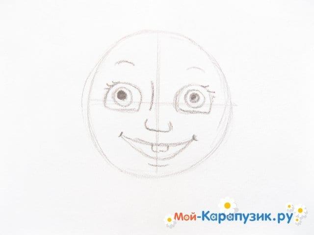"""Поэтапное рисование Маши из м/ф """"Маша и Медведь"""" цветными карандашами - фото 4"""