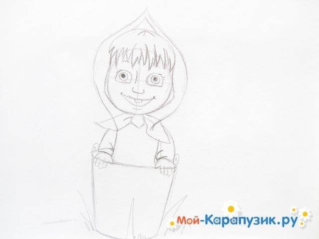 """Поэтапное рисование Маши из м/ф """"Маша и Медведь"""" цветными карандашами - фото 9"""