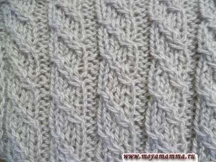 Motivi per sciarpe a maglia con ferri da maglia - Gomma a due vie con anelli sfollati 4x2