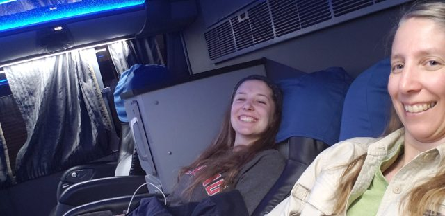 Lounging in the upgraded reclining seats of Cruz del Sur bus to Paracas