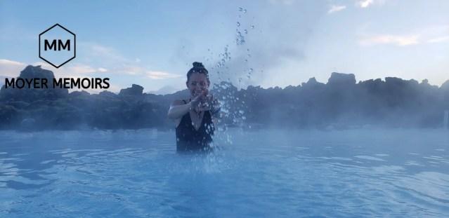 splashing the warm water in the Blue Lagoon