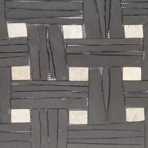 Gebroken Steen Strips Zwart Grijs