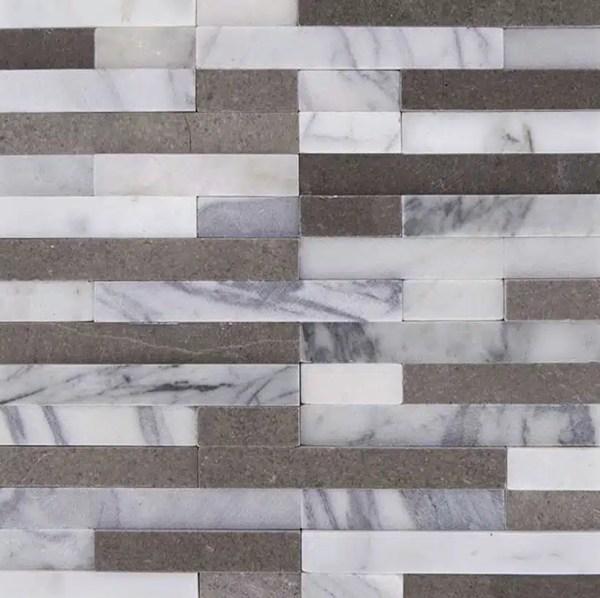 Steen Strips Wit Grijs Mix
