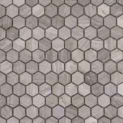 Mozaiek Zeshoek Grijs Met Druk