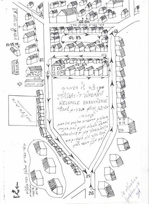 Croquis del shtetl de Wielopole Skrzyńskie, fet per Herman Lenger © Yad Vashem