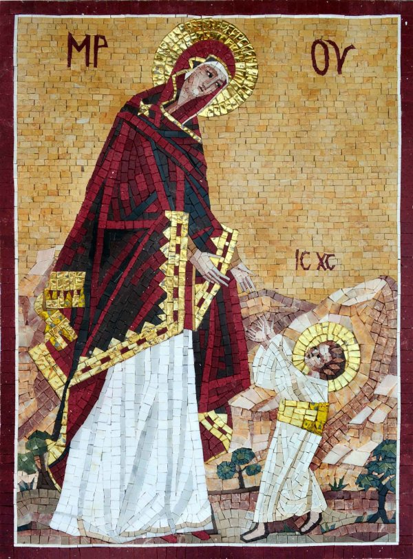Christian Mosaic Art Virgin And Child Mozaix