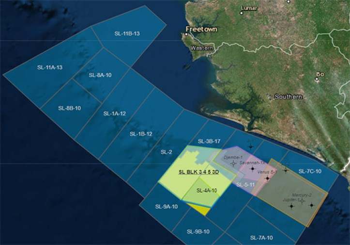 Serra Leone - Fourt round Oil Bid - map