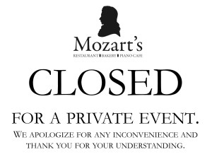 Mozart's CLOSED at 4pm for Private Event @ Mozart's | Columbus | Ohio | United States