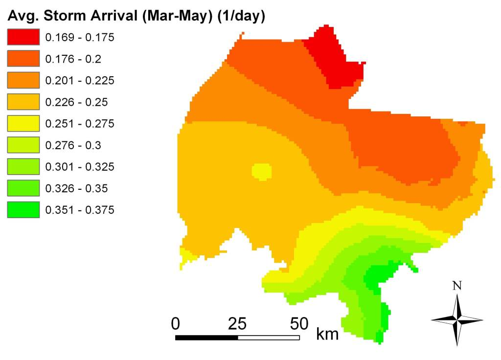 Avg storm arrival Mar-May 1988-2002 map