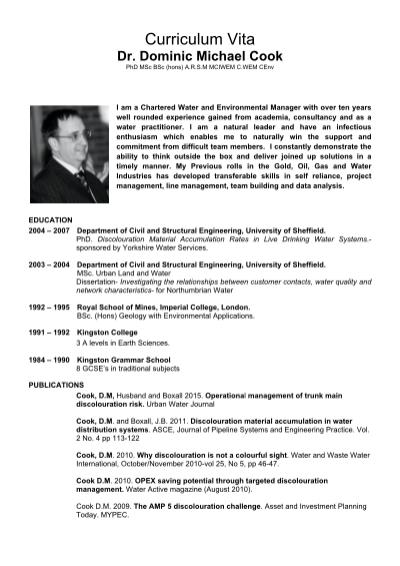 Dominic Cook's CV Sheffield Central MP Candidate UK