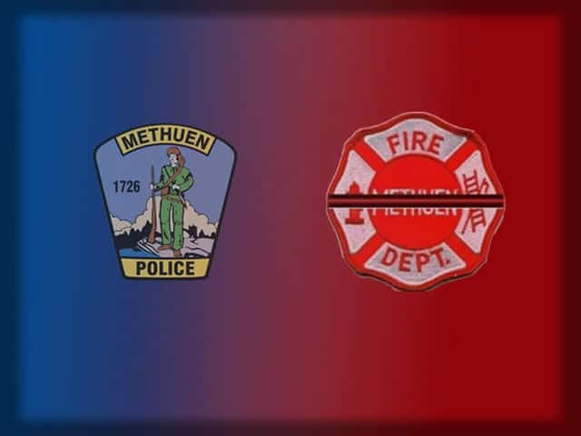 The patches of the Methuen Police Department and the Methuen Fire Department