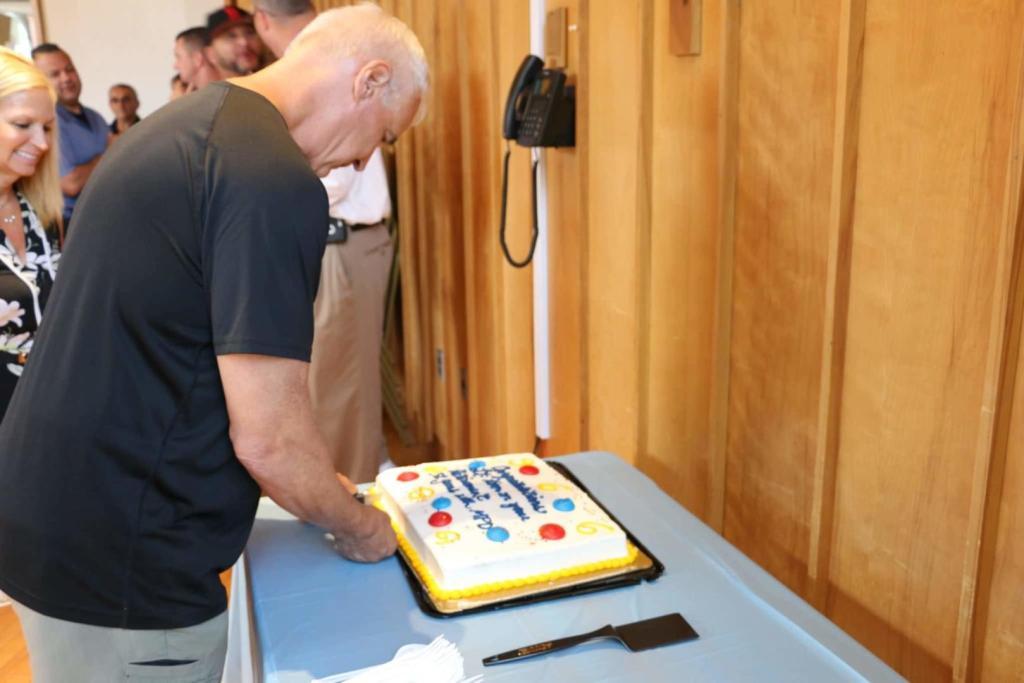 Lt. Korn cutting his cake.