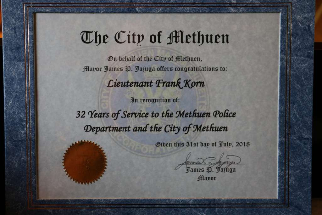 A proclamation from the city of Methuen