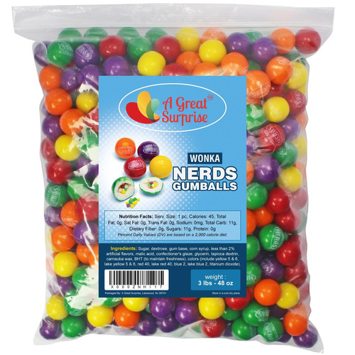 Caramelo A Granel Chicles Rellenos De Wonka Nerds 3 Lb S