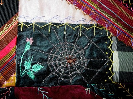 Real metallic thread for the spider web.