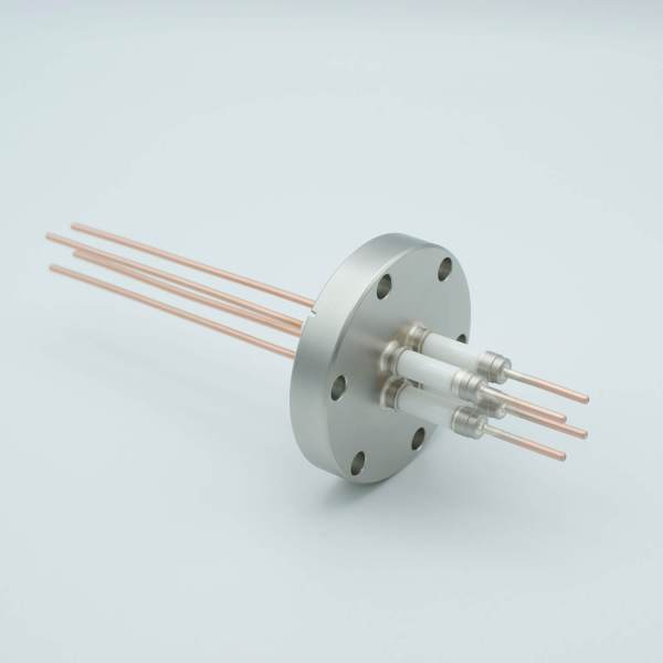 """Power Feedthrough, 14,000 Volts, 50 Amps, 4 Pins, 0.094"""" Copper Conductors, 2.75"""" Conflat Flange"""
